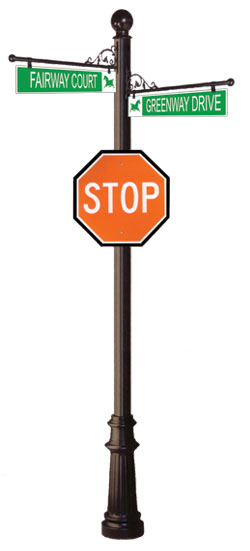 Combination Street Sign and Stop Sign